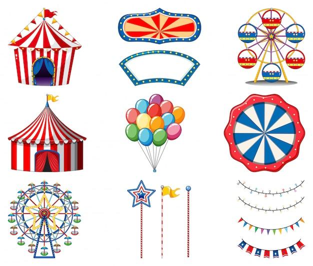 Set van circusitems Gratis Vector