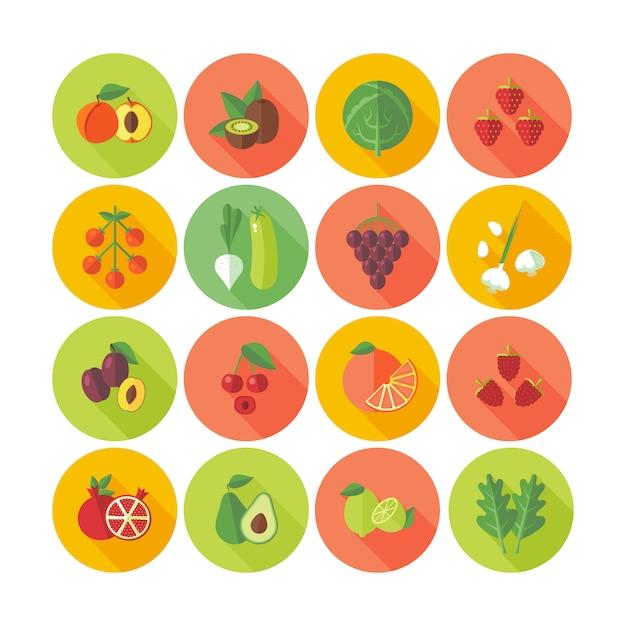 Set van cirkel iconen voor groenten en fruit. Premium Vector