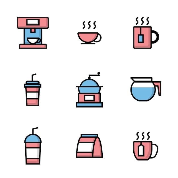 Set van coffeeshop pictogrammen Premium Vector