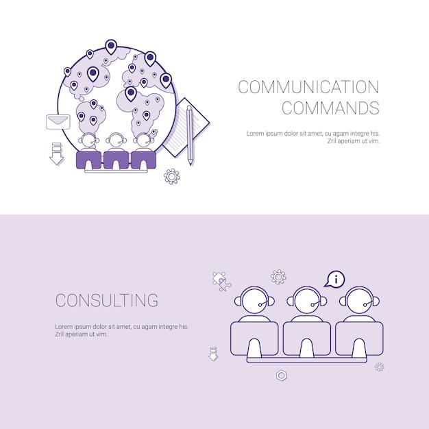 Set van communicatie-opdrachten en consulting banners business concept sjabloon Premium Vector