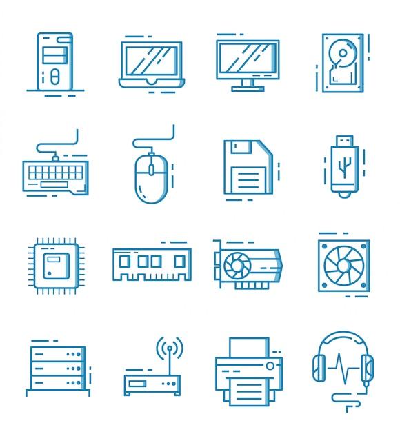 Set van computer component pictogrammen met kaderstijl Premium Vector