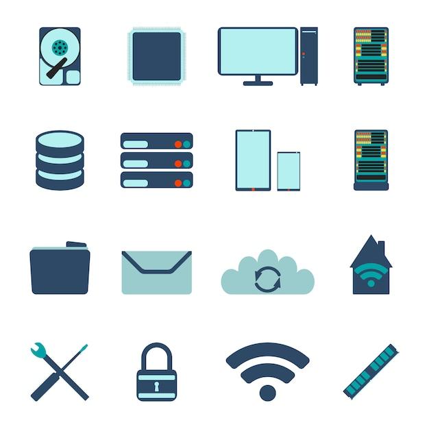 Set van computer- en database-iconen. platte vectorillustratie Premium Vector
