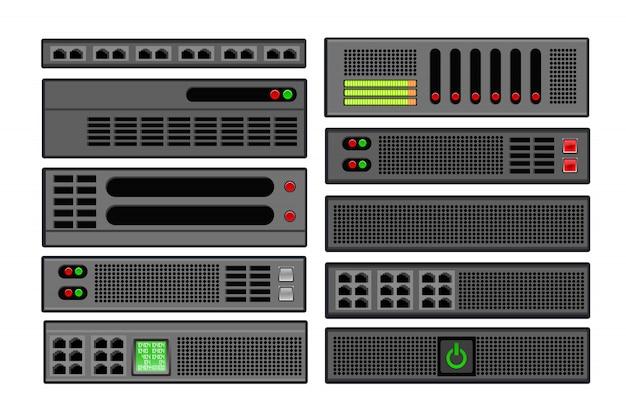 Set van computerserver Premium Vector