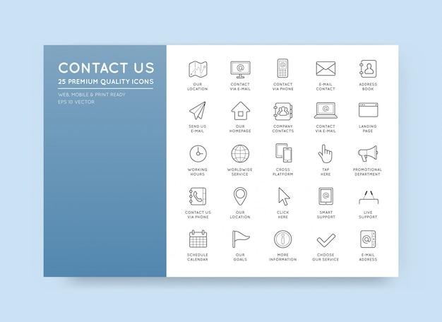 Set van contact service-pictogrammen hulp ondersteuning Premium Vector