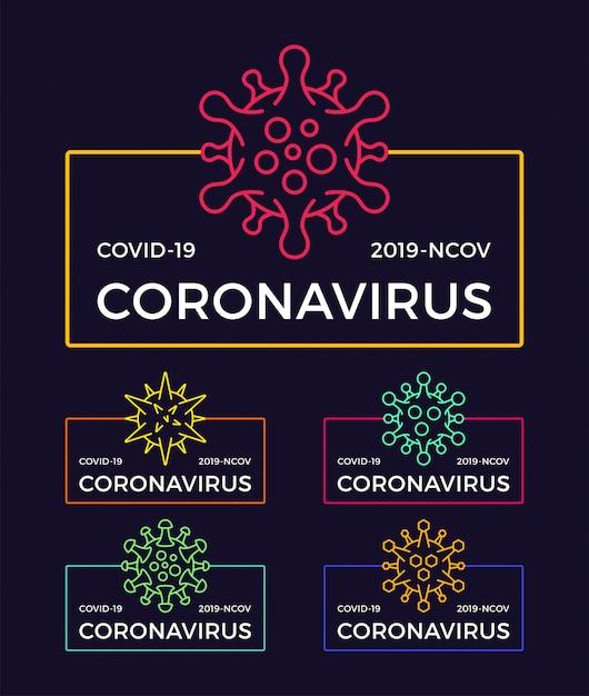 Set van coronavirus pandemische badge. gezondheid en medische illustratie. covid-19-virusuitbraak verspreid. stop coronavirus t-shirt ontwerpconcept. Premium Vector