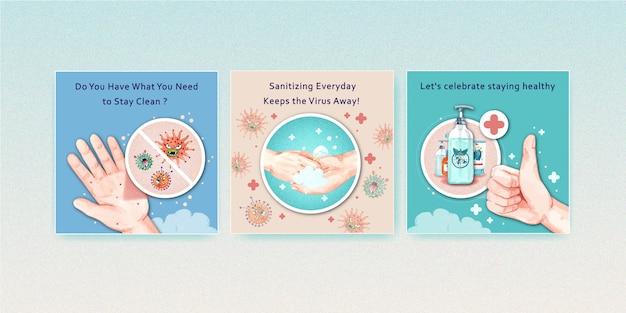 Set van coronavirus veiligheid aquarel illustratie Gratis Vector