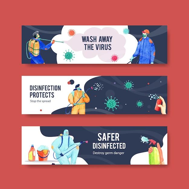 Set van coronavirus veiligheidsbanners Gratis Vector