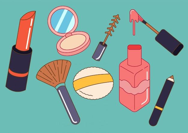 Set van cosmetica in doodle stijl Premium Vector