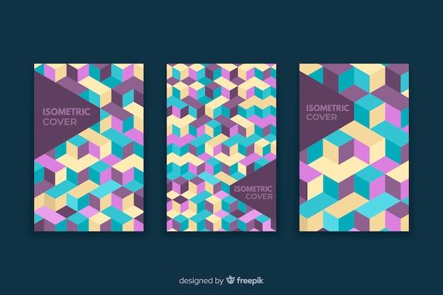 Set van covers met geometrische ontwerpen Gratis Vector