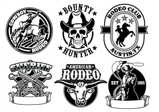 Set van cowboy-badge Premium Vector