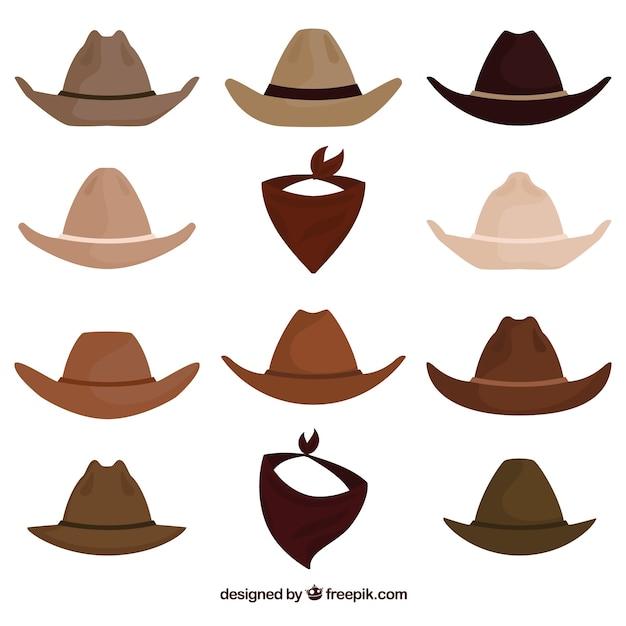 Set van cowboy hoeden en sjaal Gratis Vector