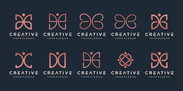 Set van creatieve abstracte monogram logo. Premium Vector