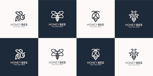 Set van creatieve bee logo lijn kunststijl. voor bedrijf, honing, bij, bijenkorf, kruid, illustratiesjabloon. Premium Vector
