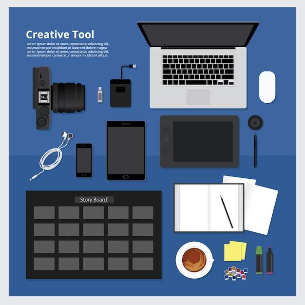 Set van creatieve gereedschap werk ruimte vectorillustratie Premium Vector
