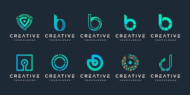 Set van creatieve letter b en d logo sjabloon. pictogrammen voor zaken van technologie, digitaal, data, lab, eenvoudig. Premium Vector