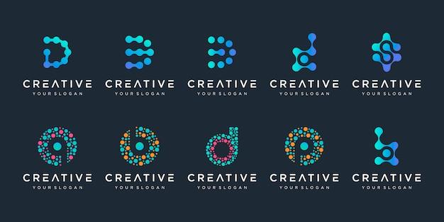 Set van creatieve letter d en b logo met puntstijl. universele kleurrijke biotechnologie molecuul atoom dna-chip symbool. dit logo is geschikt voor onderzoek, wetenschap, medisch, logo, technologie, laboratorium, Premium Vector