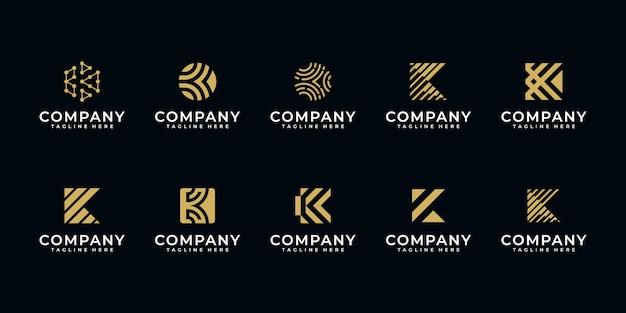 Set van creatieve letter k logo ontwerpsjabloon Premium Vector