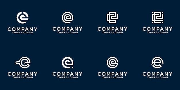 Set van creatieve lettermark monogram briefsjabloon e logo Premium Vector