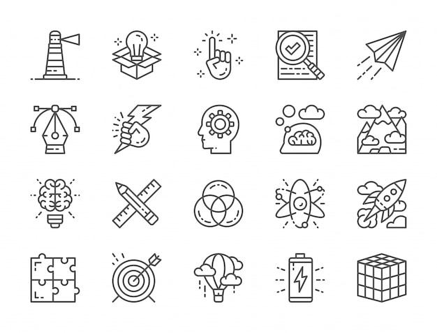 Set van creatieve lijn iconen. controlelijst, papieren vliegtuigje, innovatie, batterij en meer Premium Vector