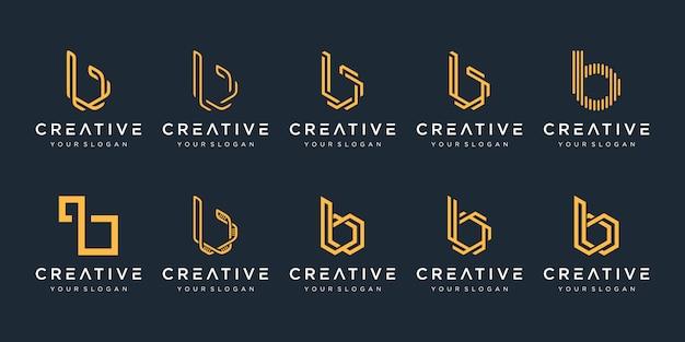 Set van creatieve monogram letter b logo sjabloon. het logo kan worden gebruikt voor bouwbedrijf. Premium Vector