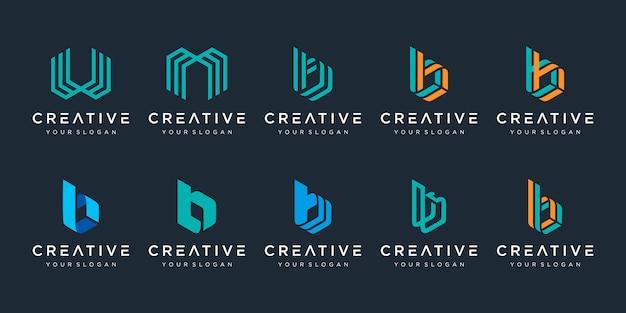 Set van creatieve monogram letter b, w en m logo sjabloon. het logo kan worden gebruikt voor bouwbedrijf. Premium Vector
