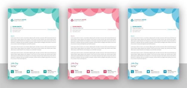 Set van creatieve zakelijke kleurrijke briefhoofd ontwerpsjabloon Premium Vector