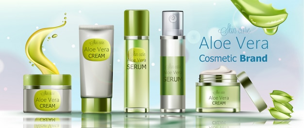 Set van crème en serum cosmetica voor huidverzorging. cosmetica merk aloë vera Gratis Vector