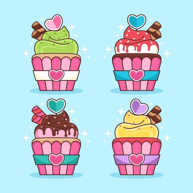 Set van cupcake cartoon afbeelding Premium Vector