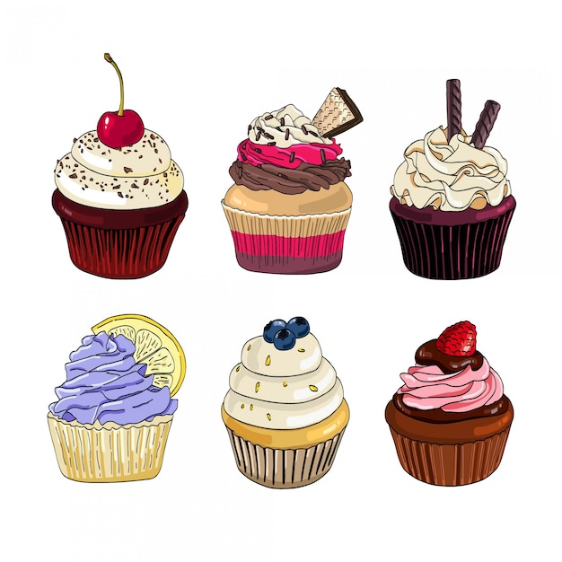 Set van cupcakes op een witte achtergrond. Premium Vector