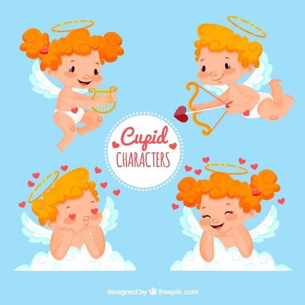 Set van cupid karakters Gratis Vector