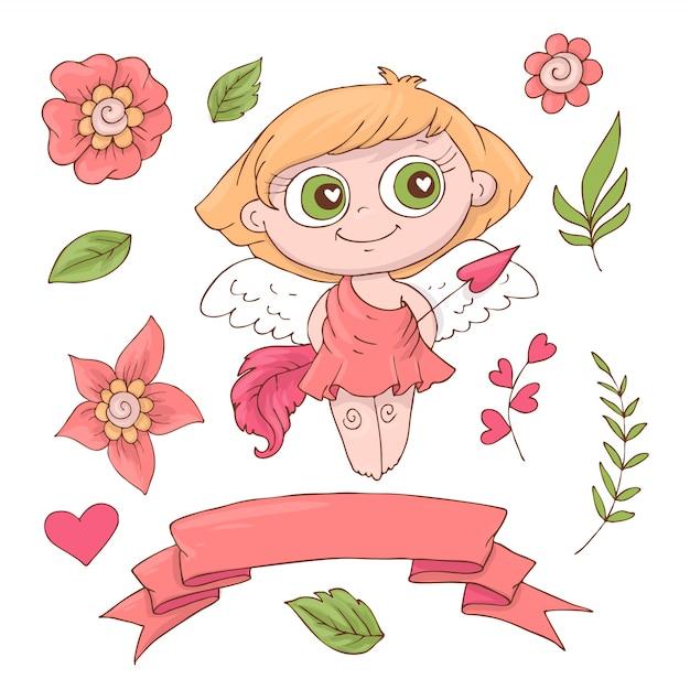 Set van cute cartoon engelen voor valentijnsdag Premium Vector