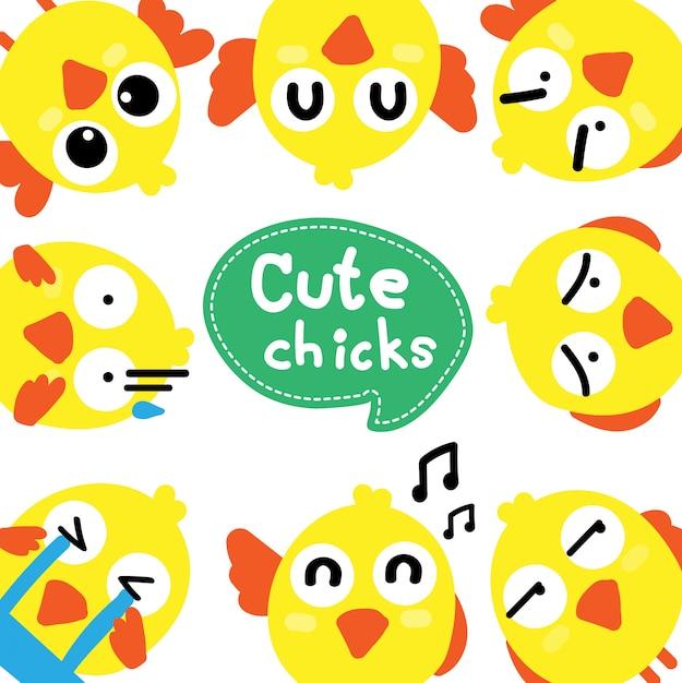 Set van cute cartoon kippen voor pasen ontwerp Premium Vector