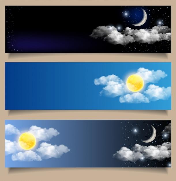 Set van dag en nacht horizontale banners Premium Vector