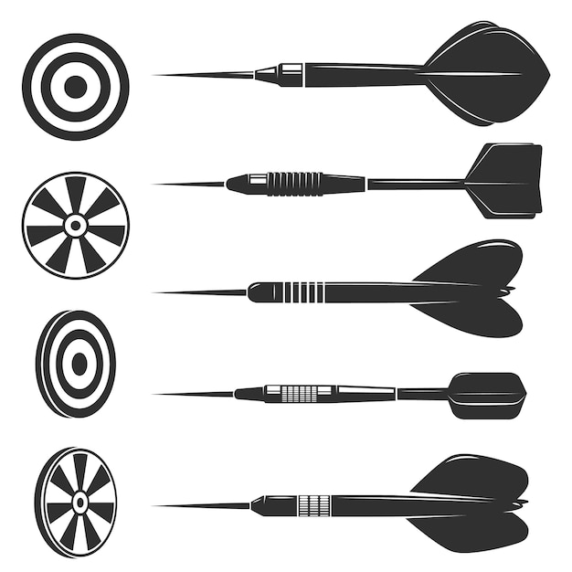 Set van darts voor dartspel. ontwerpelementen voor logo, label, embleem, teken, merkmarkering. Premium Vector