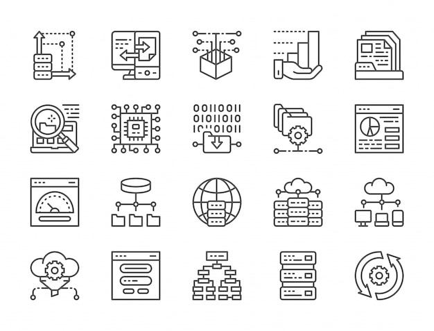 Set van data-analyse lijn iconen Premium Vector