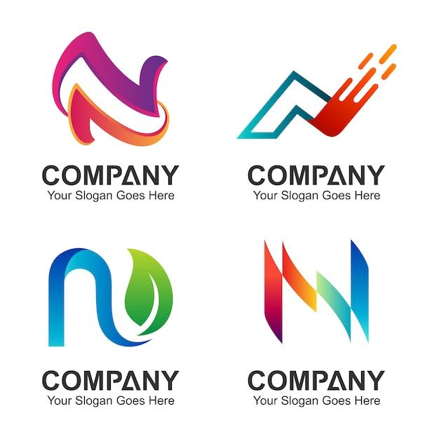 Set van de eerste letter n logo ontwerp Premium Vector