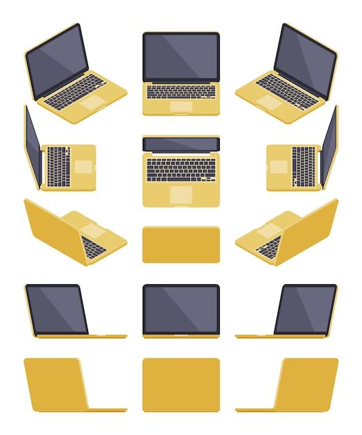 Set van de isometrische gouden laptops Premium Vector