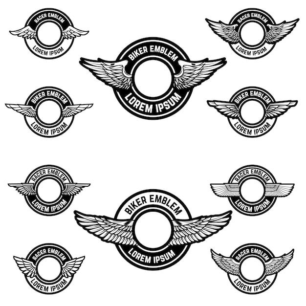 Set van de lege emblemen met vleugels. elementen voor logo, label, badge, teken. illustratie Premium Vector