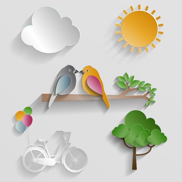 Set van de natuur. vogel, wolk, zon en fiets op grijze achtergrond Premium Vector
