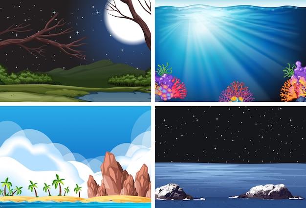 Set van de scène van de natuur Gratis Vector