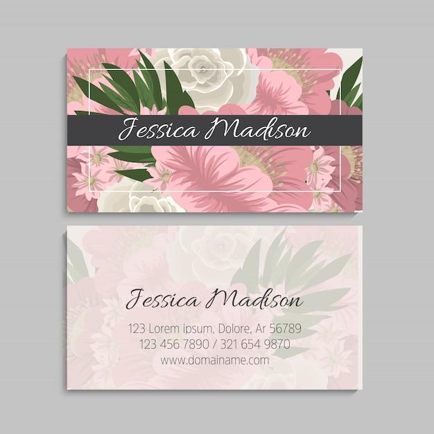 Set van de voor- en achterkant van het visitekaartje met bloemen Premium Vector
