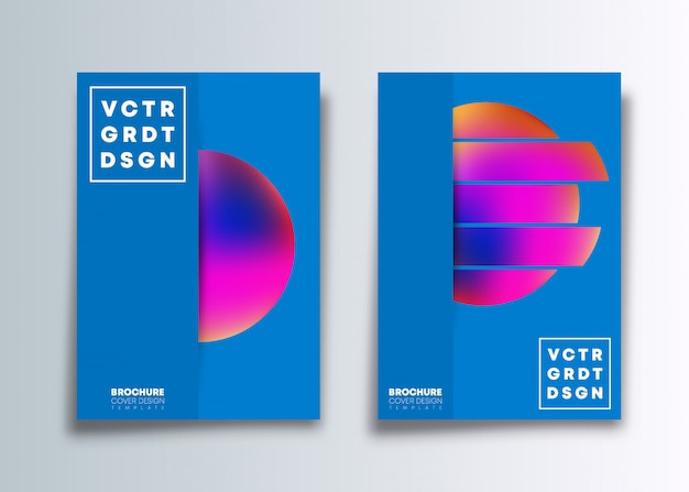 Set van de voorbladsjabloon met kleurrijke verloop cirkel. Premium Vector