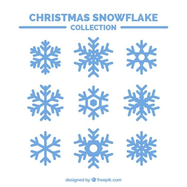Set van decoratieve sneeuwvlokken Gratis Vector