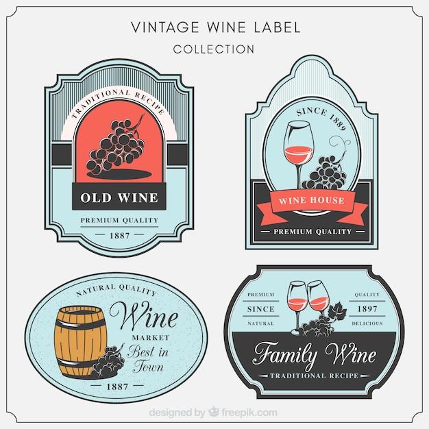 Set van decoratieve wijn etiketten in vintage stijl Gratis Vector