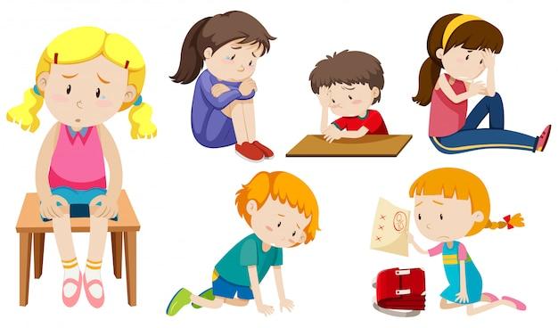 Set van depressieve kinderen Premium Vector