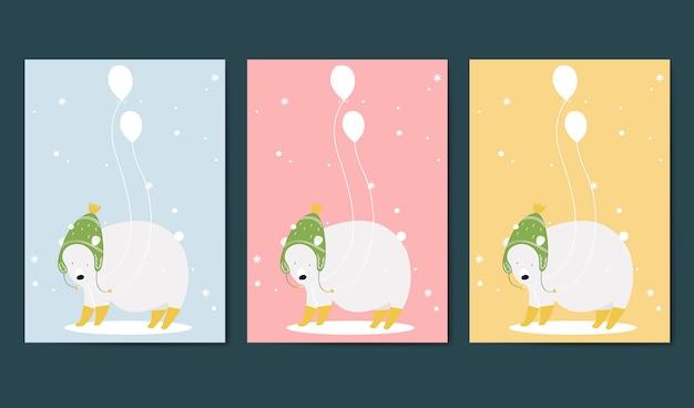 Set van dieren thema-uitnodigingskaart vector Gratis Vector
