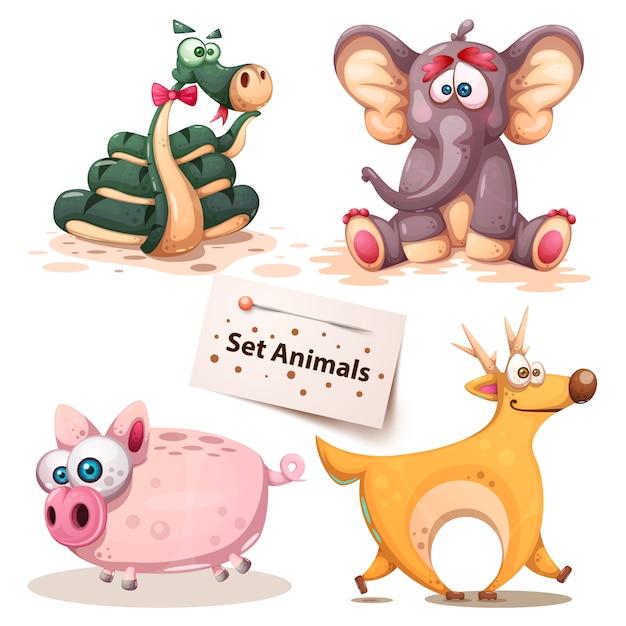 Set van dieren Premium Vector