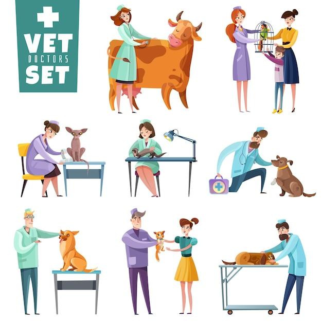 Set van dierenarts artsen tijdens professioneel onderzoek van huisdieren en landbouwhuisdieren geïsoleerd Gratis Vector