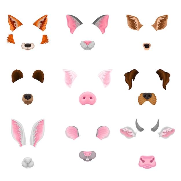 Set van dierengezichten. grafisch ontwerp voor selfie-foto-decor of videochat-effecten. Premium Vector