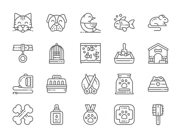 Set van dierenwinkel lijn iconen Premium Vector